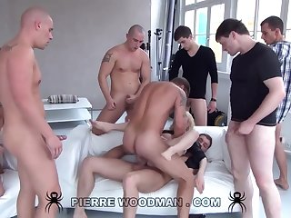 Youthfull Russian Wanton Gets Group-Fucked By Eight Immoral Pervs