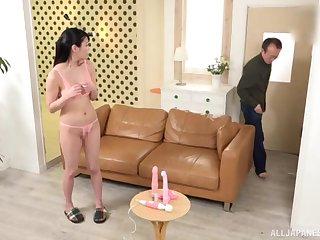 Japanese brunette Amano Miyuu gets their way pussy toyed with until orgasm
