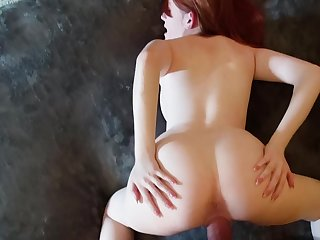 Cum in rub-down the mouth of this cute young redheaded girl