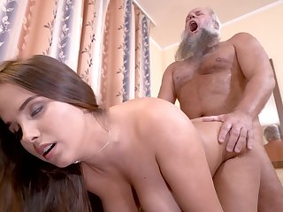 Curvy girl cunt filled away from grandpa load of shit in his breathing room